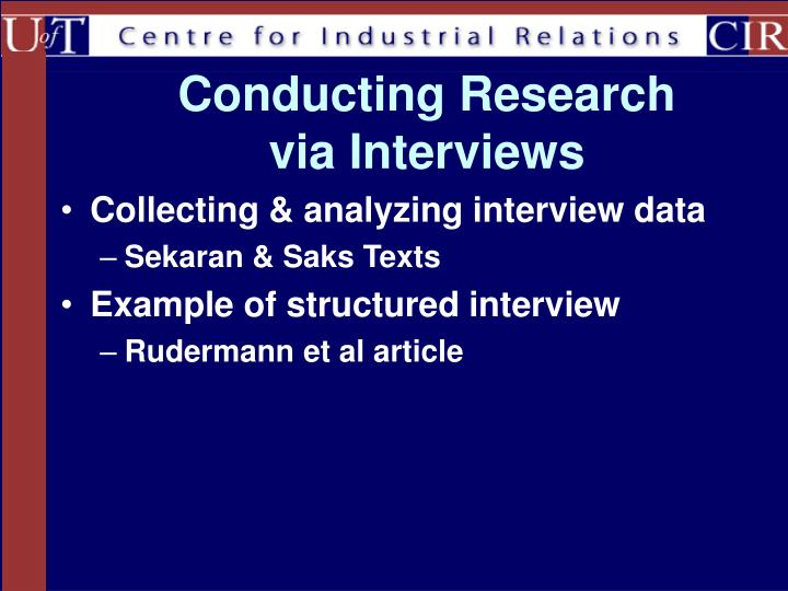 Conducting research via interviews
