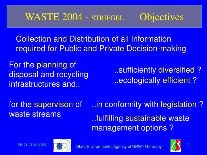Waste 2004 striegel objectives