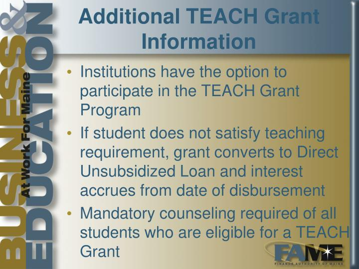 Additional TEACH Grant Information