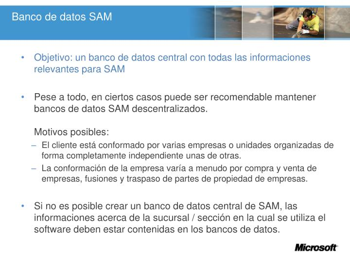 Banco de datos SAM