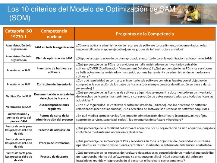 Los 10 criterios del Modelo de Optimización de SAM