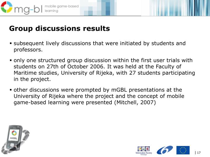 Group discussions results