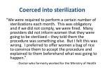 coerced into sterilization