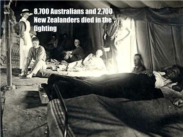 8,700 Australians and 2,700 New Zealanders died in the fighting