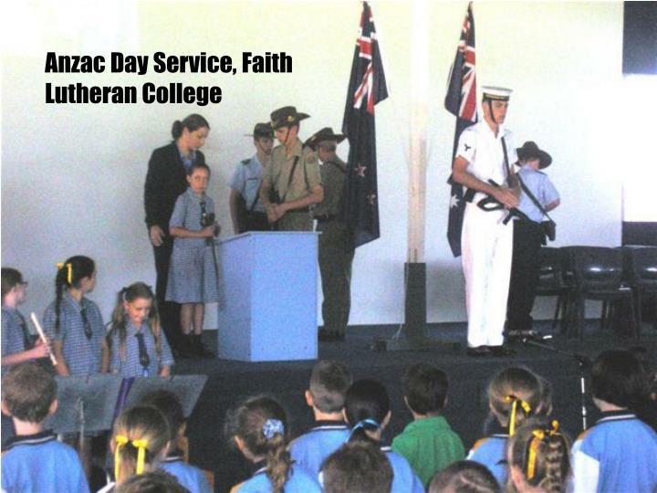 Anzac Day Service, Faith Lutheran College