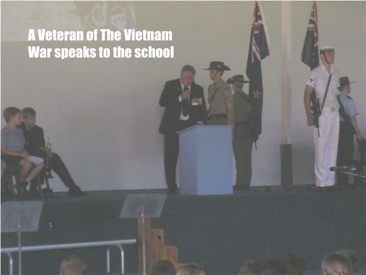 A Veteran of The Vietnam War speaks to the school