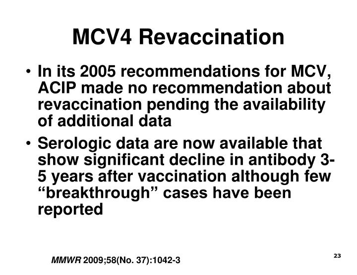 MCV4 Revaccination