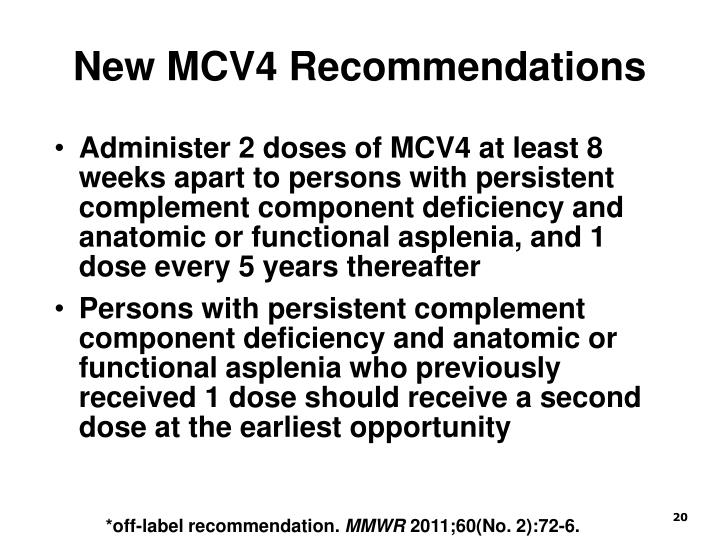 New MCV4 Recommendations