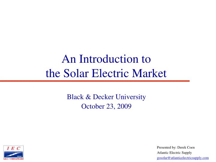 an introduction to the solar electric market n.