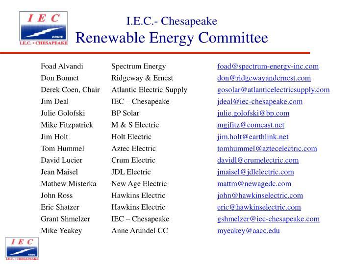 I e c chesapeake renewable energy committee