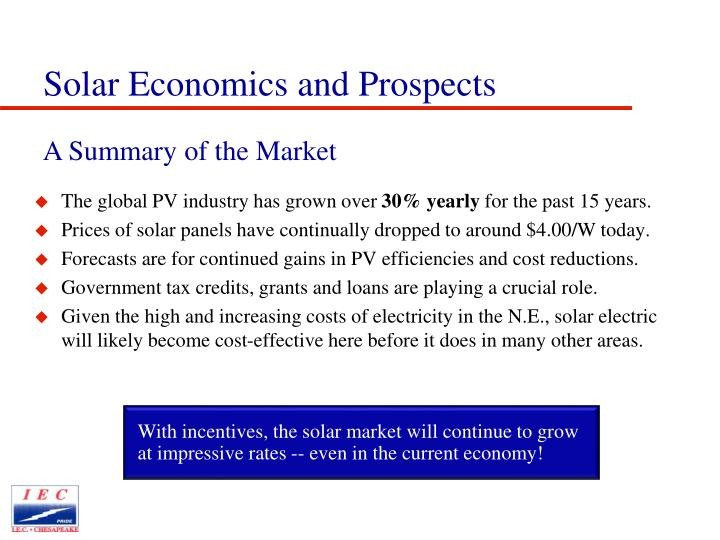 With incentives, the solar market will continue to grow at impressive rates -- even in the current economy!