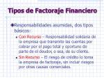 tipos de factoraje financiero
