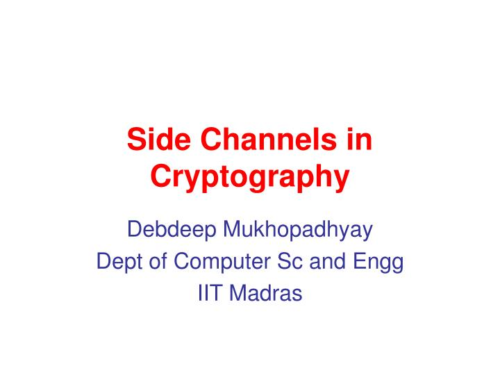 side channels in cryptography n.