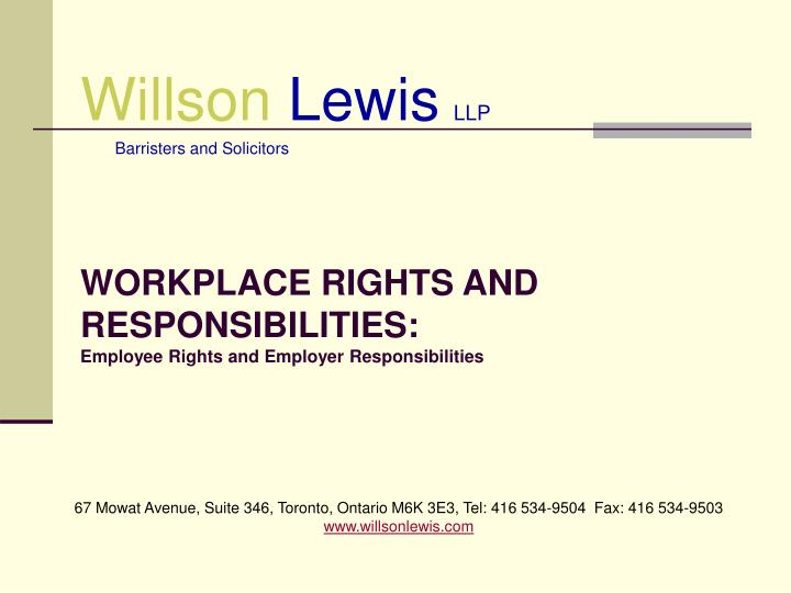 workplace rights and responsibilities employee rights and employer responsibilities n.