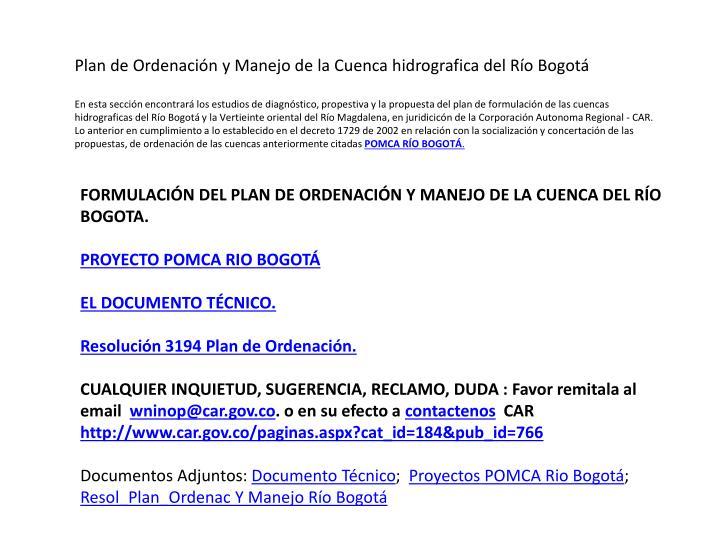 Plan de Ordenación y Manejo de la Cuenca hidrografica del Río Bogotá