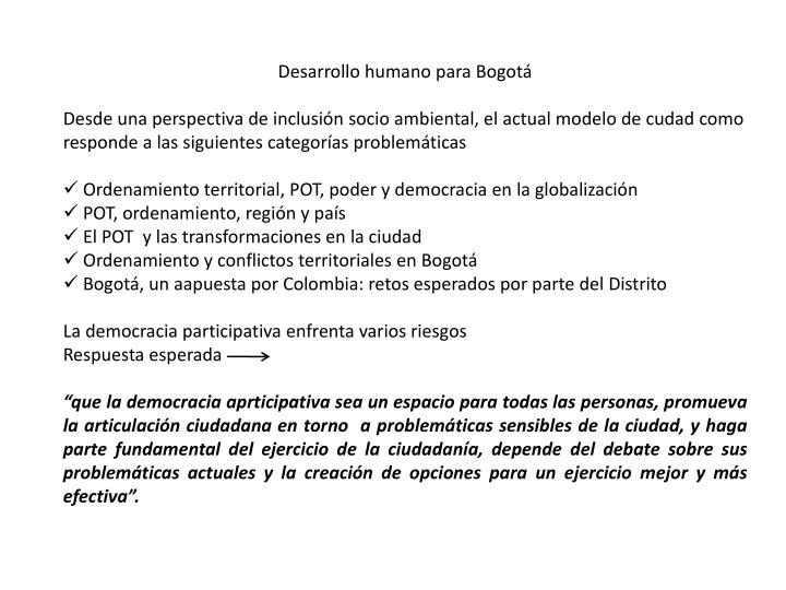 Desarrollo humano para Bogotá