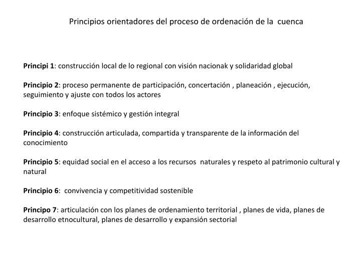 Principios orientadores del proceso de ordenación de la  cuenca