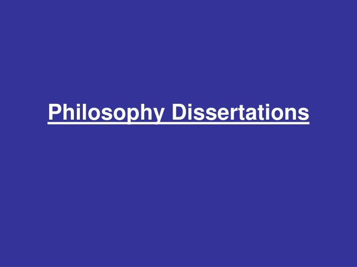 Philosophy Dissertations