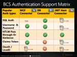bcs authentication support matrix