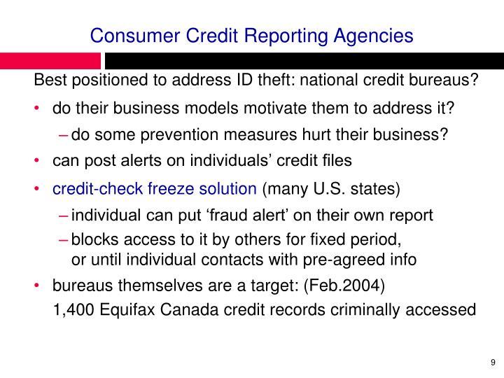 Consumer Credit Reporting Agencies