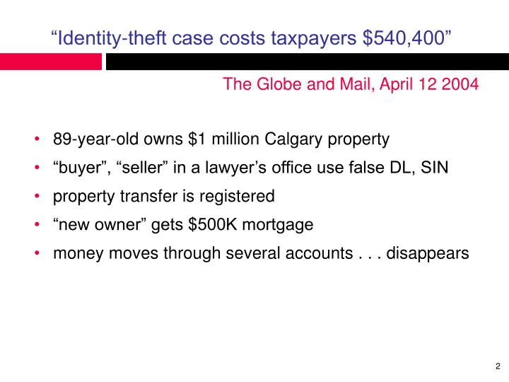 Identity theft case costs taxpayers 540 400