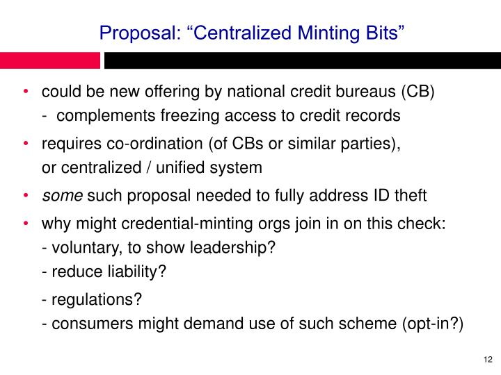 """Proposal: """"Centralized Minting Bits"""""""