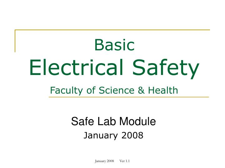 basic electrical safety faculty of science health n.