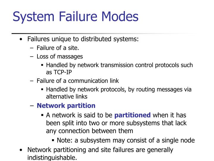 Failures unique to distributed systems: