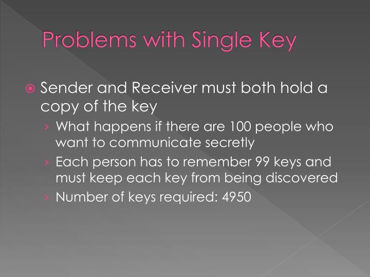 Problems with Single Key