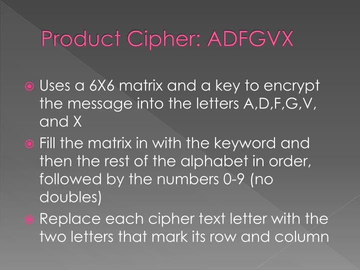 Product Cipher: ADFGVX