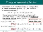 energy as a generating function1