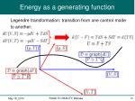 energy as a generating function2