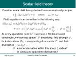 scalar field theory