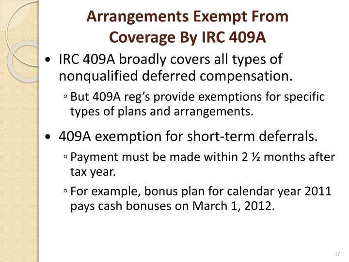 Arrangements Exempt From