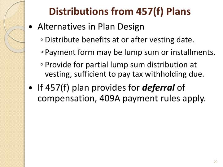 Distributions from 457(f) Plans