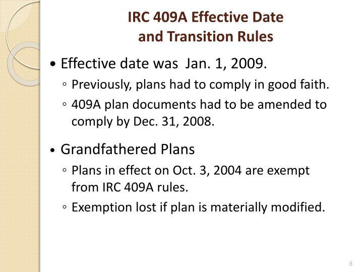 IRC 409A Effective Date
