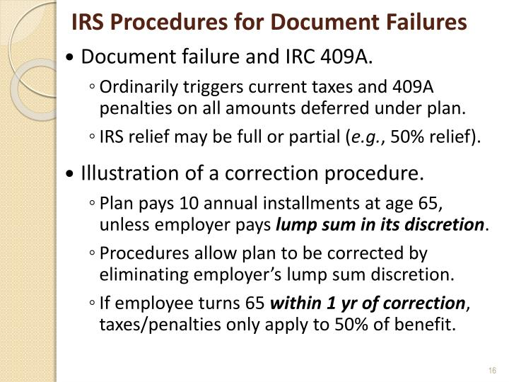 IRS Procedures for Document Failures