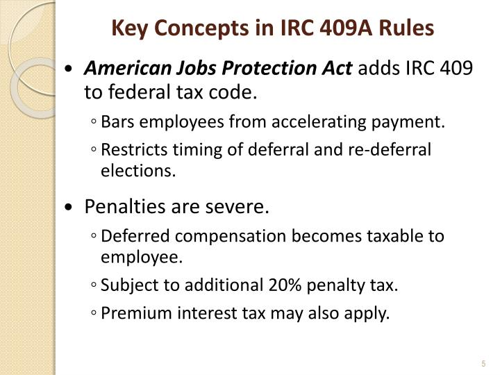 Key Concepts in IRC 409A Rules