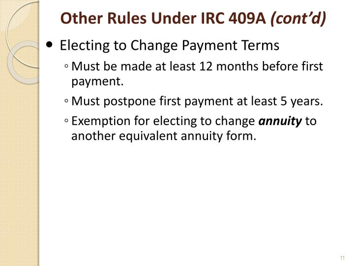 Other Rules Under IRC 409A