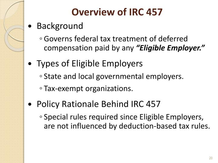 Overview of IRC 457
