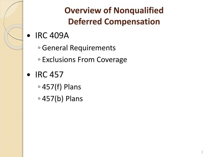 Overview of nonqualified deferred compensation