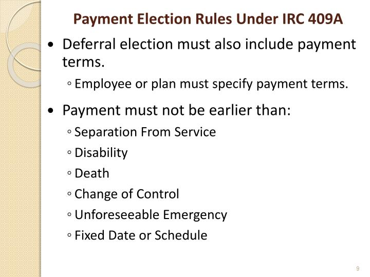 Payment Election Rules Under IRC 409A