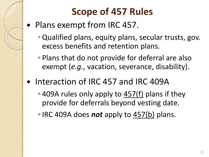 Scope of 457 Rules