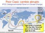peor caso cambio abrupto ipcc intergovernmental panel on climate change