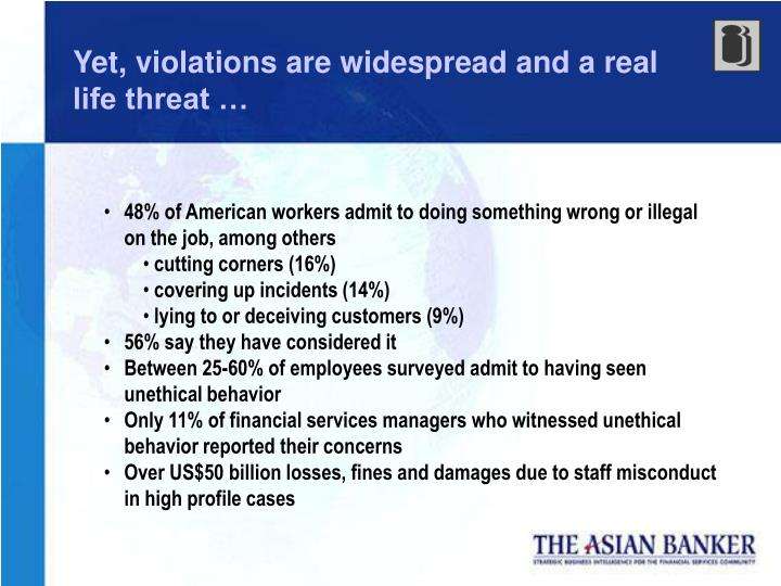 Yet, violations are widespread and a real life threat …