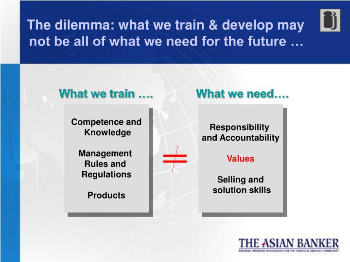 The dilemma: what we train & develop may not be all of what we need for the future …