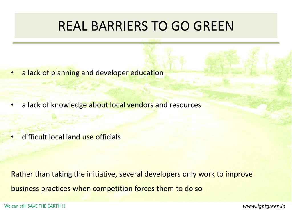 REAL BARRIERS TO GO GREEN