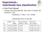 experiments male female face classification
