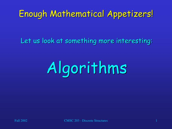 enough mathematical appetizers n.