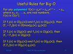 useful rules for big o